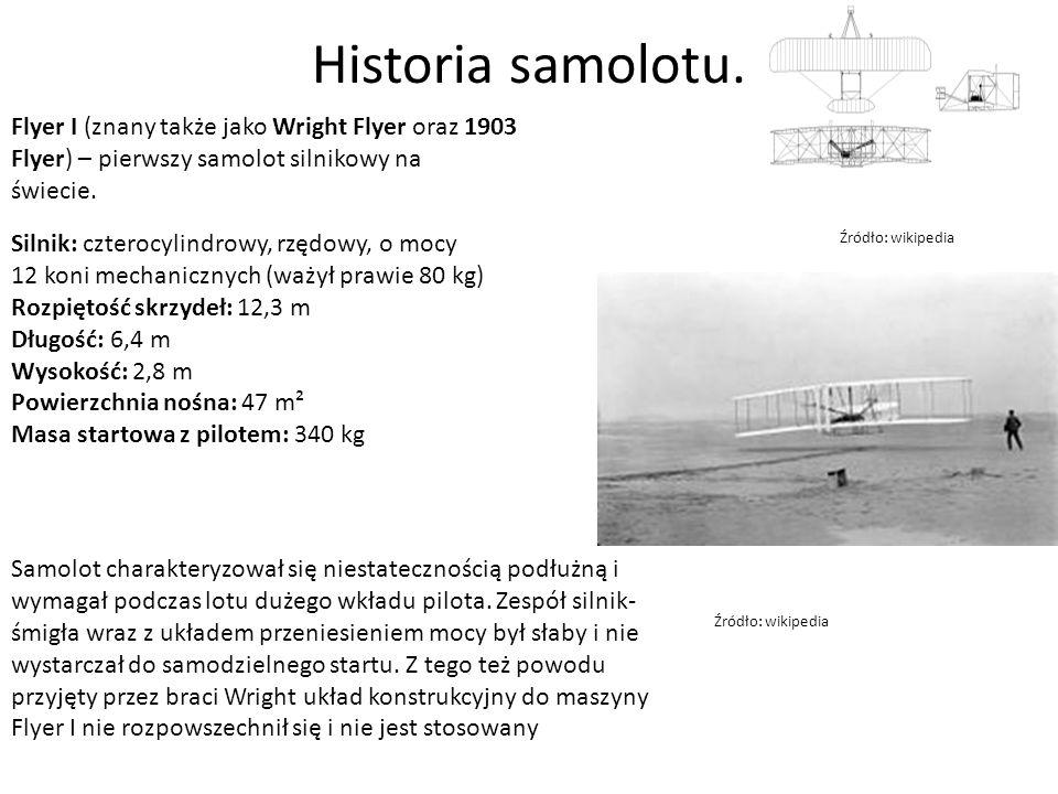 Historia samolotu. Flyer I (znany także jako Wright Flyer oraz 1903 Flyer) – pierwszy samolot silnikowy na świecie.