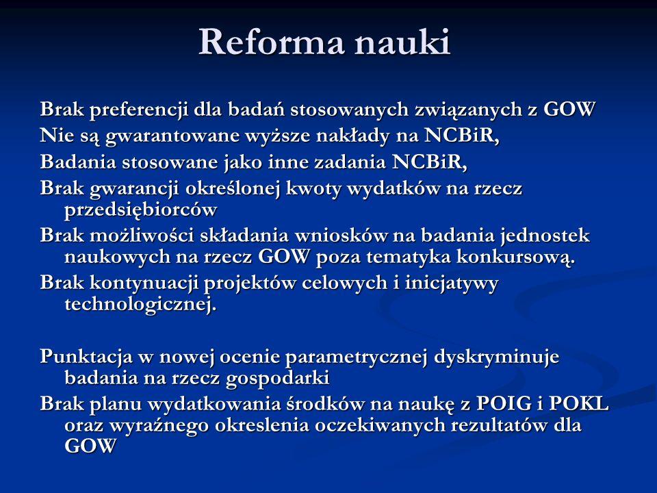 Reforma nauki Brak preferencji dla badań stosowanych związanych z GOW