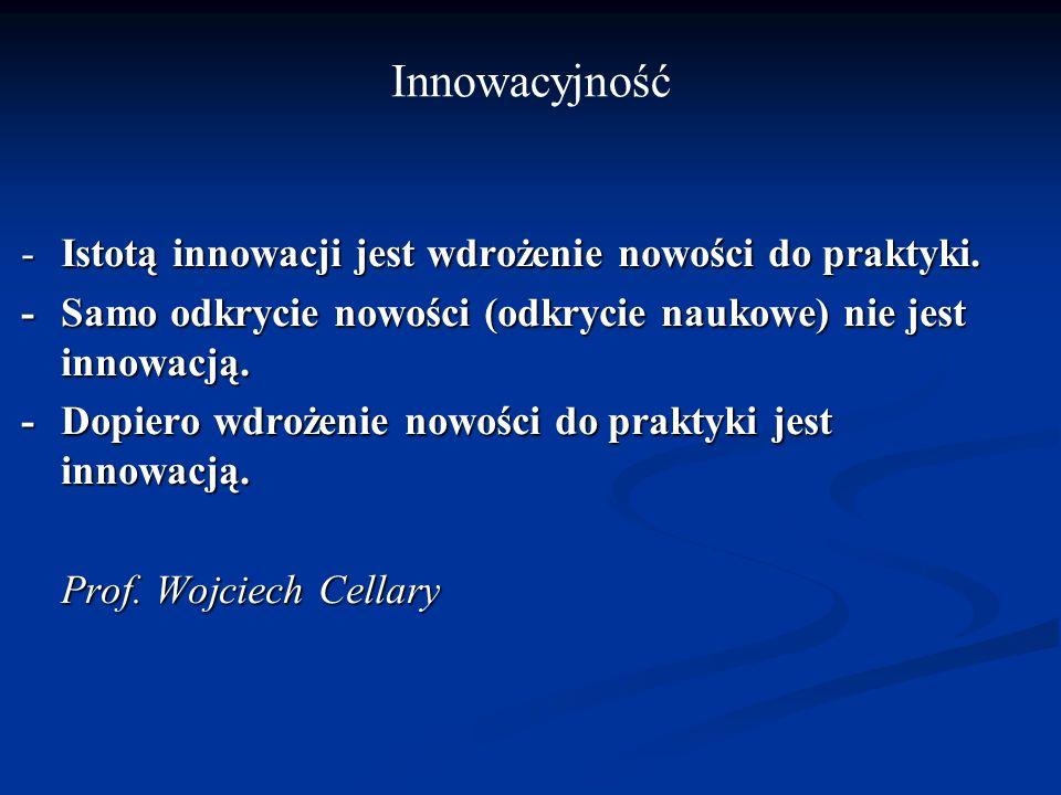 Innowacyjność - Istotą innowacji jest wdrożenie nowości do praktyki.