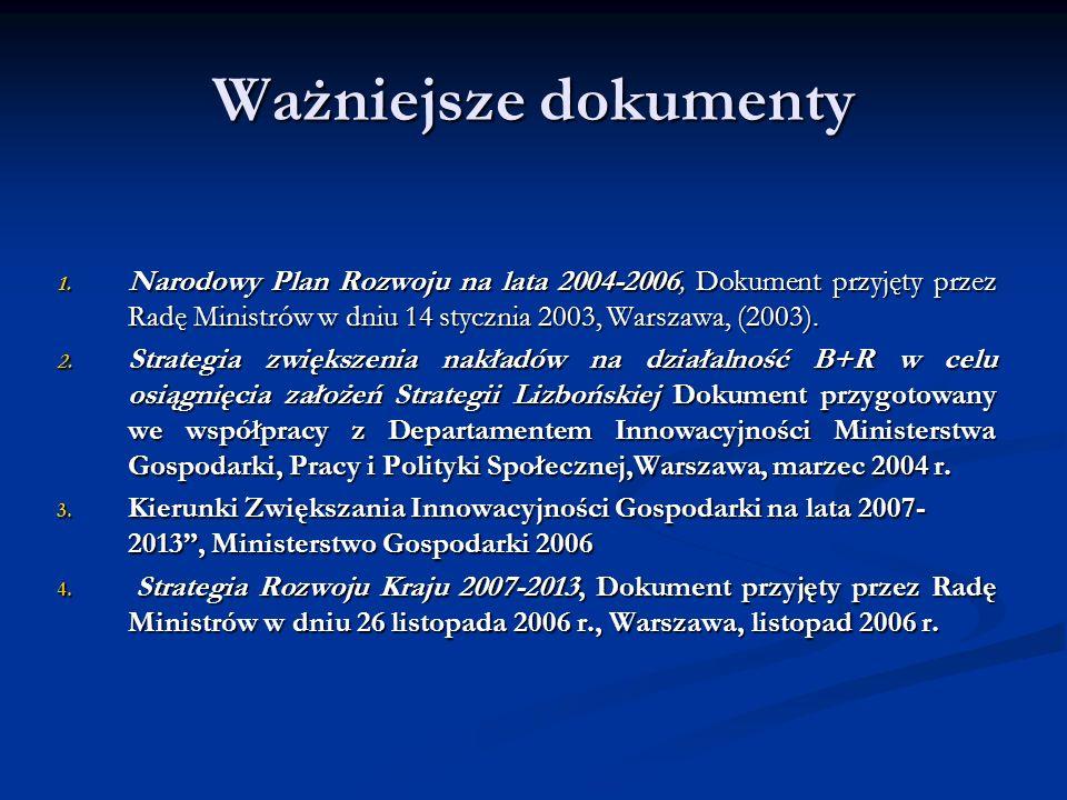 Ważniejsze dokumenty Narodowy Plan Rozwoju na lata 2004-2006, Dokument przyjęty przez Radę Ministrów w dniu 14 stycznia 2003, Warszawa, (2003).