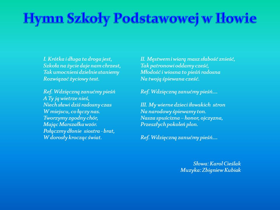 Hymn Szkoły Podstawowej w Iłowie
