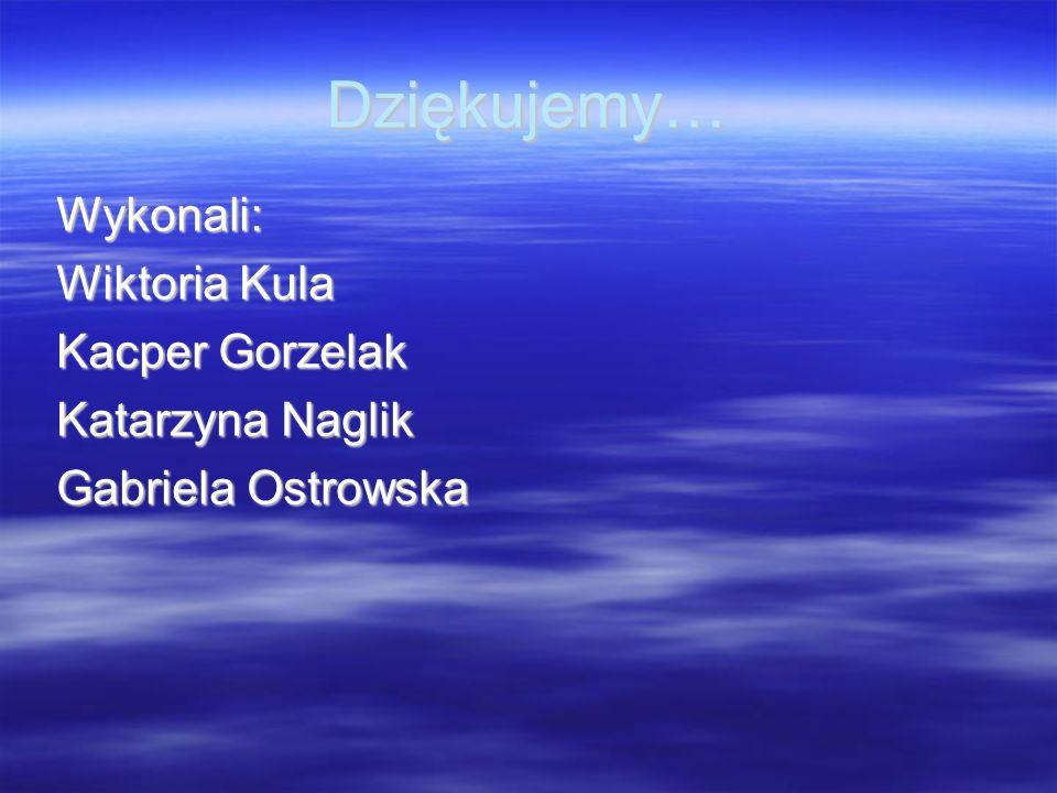 Dziękujemy… Wykonali: Wiktoria Kula Kacper Gorzelak Katarzyna Naglik