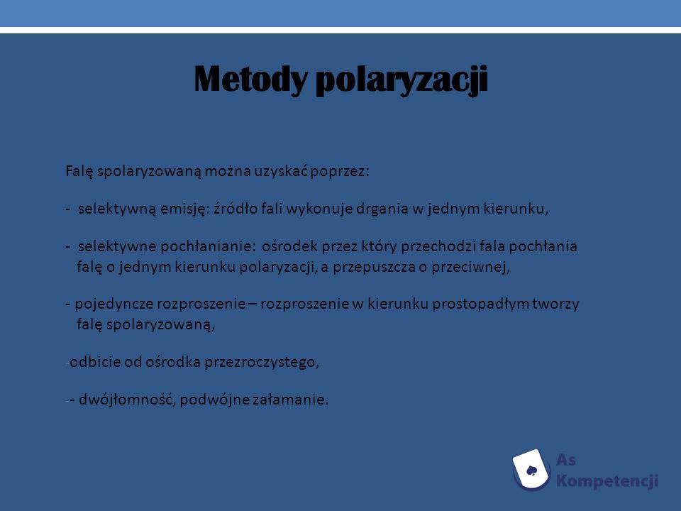 Metody polaryzacji Falę spolaryzowaną można uzyskać poprzez:
