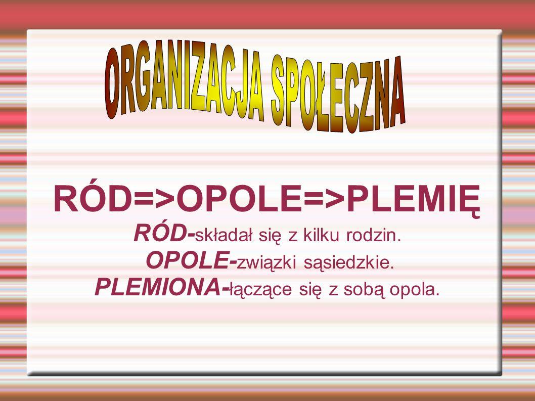 RÓD=>OPOLE=>PLEMIĘ RÓD-składał się z kilku rodzin.