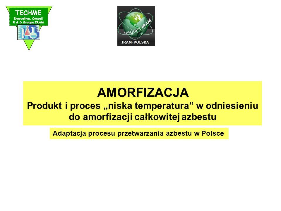 """TECHME Innovation, Conseil. R & D Groupe IRAM. AMORFIZACJA. Produkt i proces """"niska temperatura w odniesieniu do amorfizacji całkowitej azbestu."""