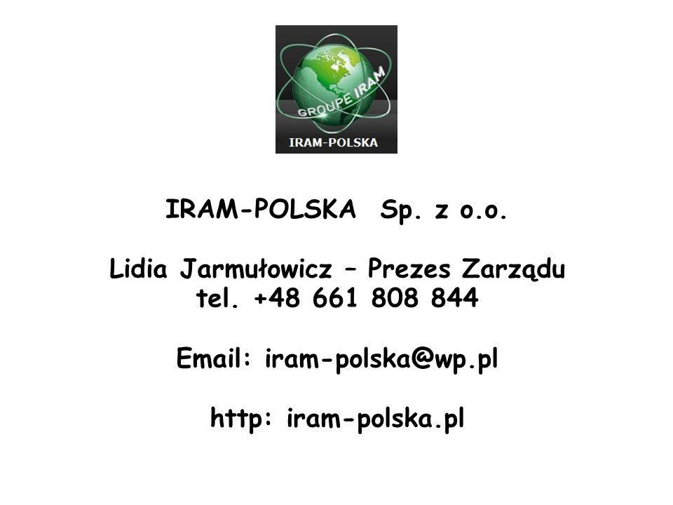 Lidia Jarmułowicz – Prezes Zarządu Email: iram-polska@wp.pl