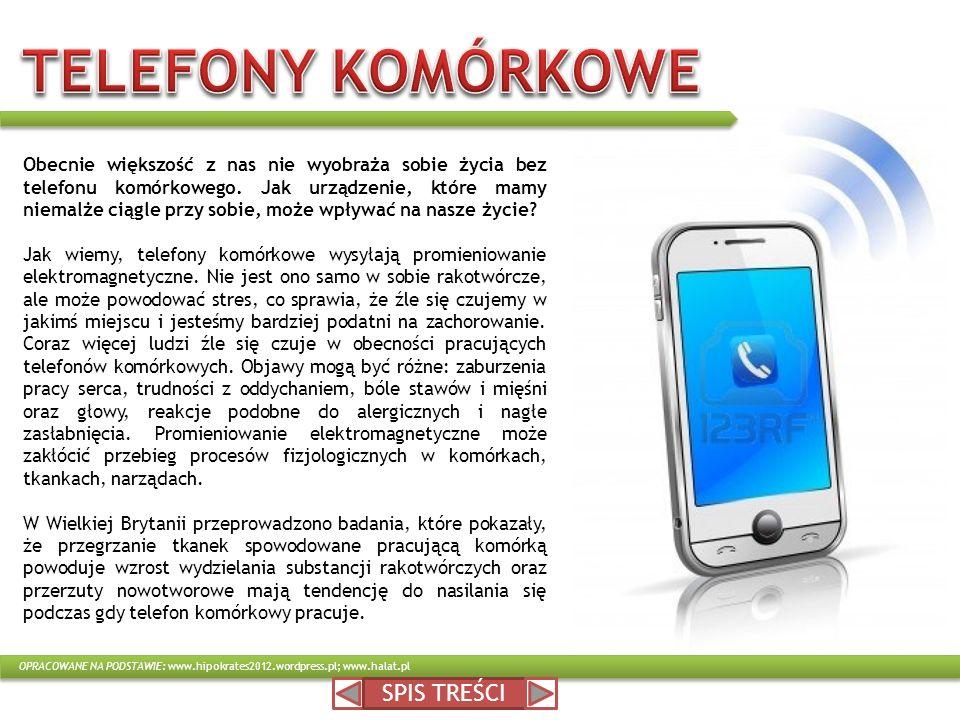 TELEFONY KOMÓRKOWE SPIS TREŚCI