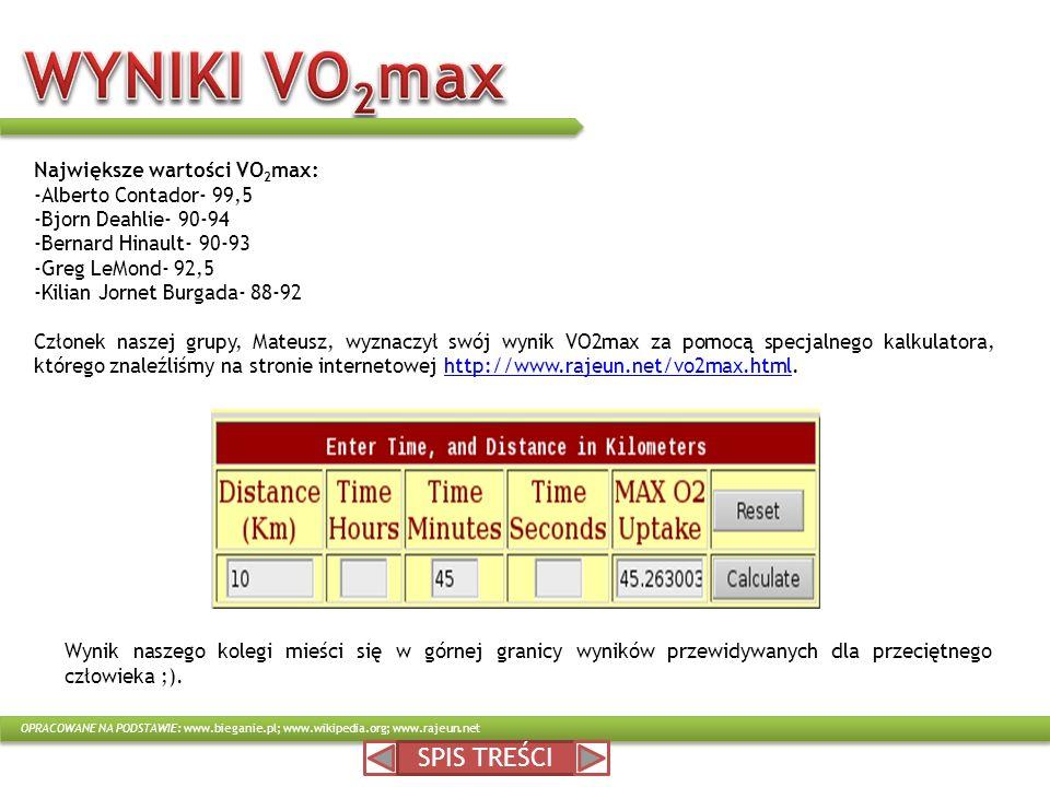 WYNIKI VO2max SPIS TREŚCI Największe wartości VO2max: