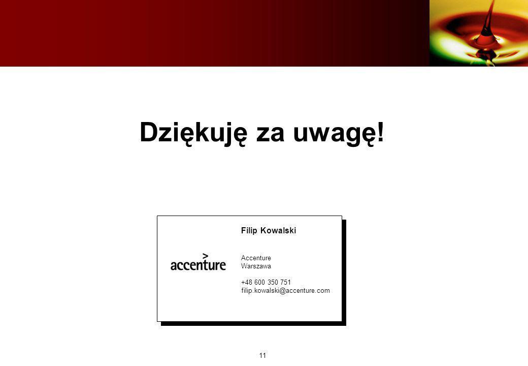 Dziękuję za uwagę! Filip Kowalski Accenture Warszawa +48 600 350 751