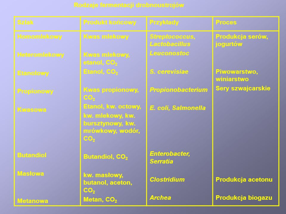 Rodzaje fermentacji drobnoustrojów