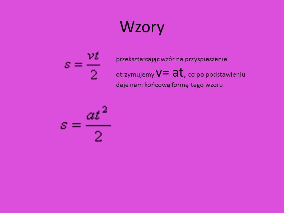 Wzoryprzekształcając wzór na przyspieszenie otrzymujemy v= at, co po podstawieniu daje nam końcową formę tego wzoru.