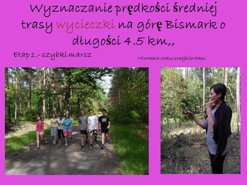 Wyznaczanie prędkości średniej trasy wycieczki na górę Bismark o długości 4.5 km,,