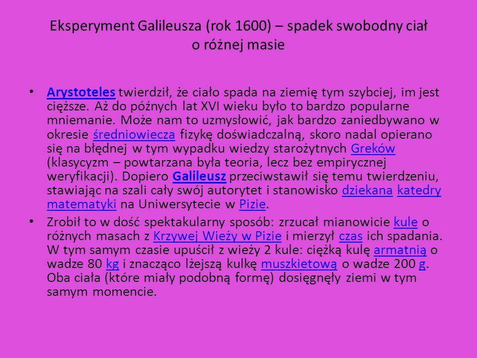 Eksperyment Galileusza (rok 1600) – spadek swobodny ciał o różnej masie