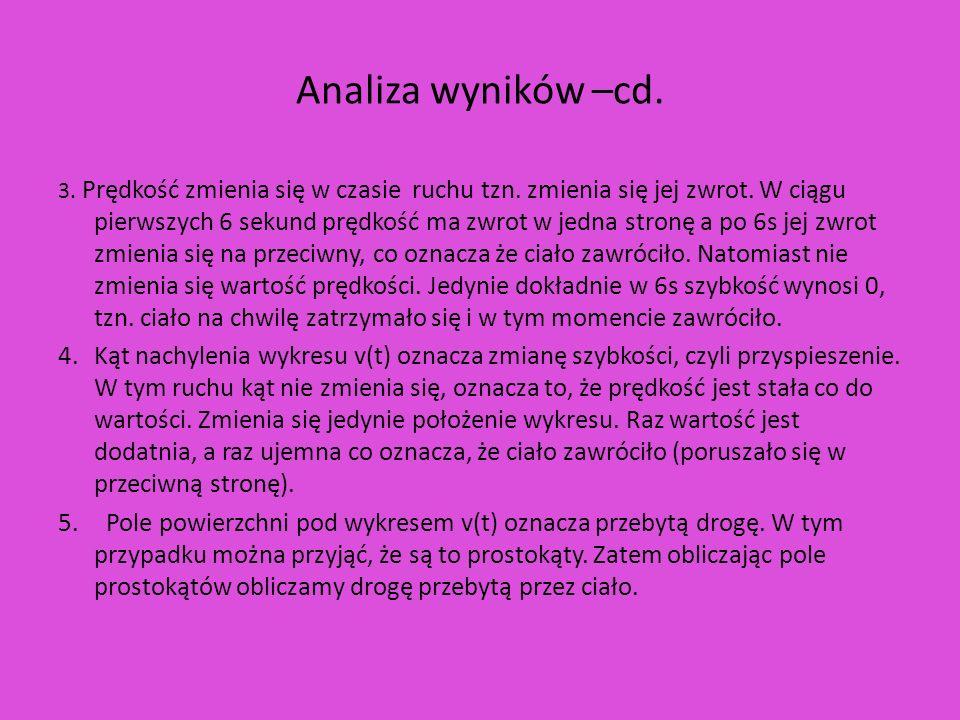 Analiza wyników –cd.