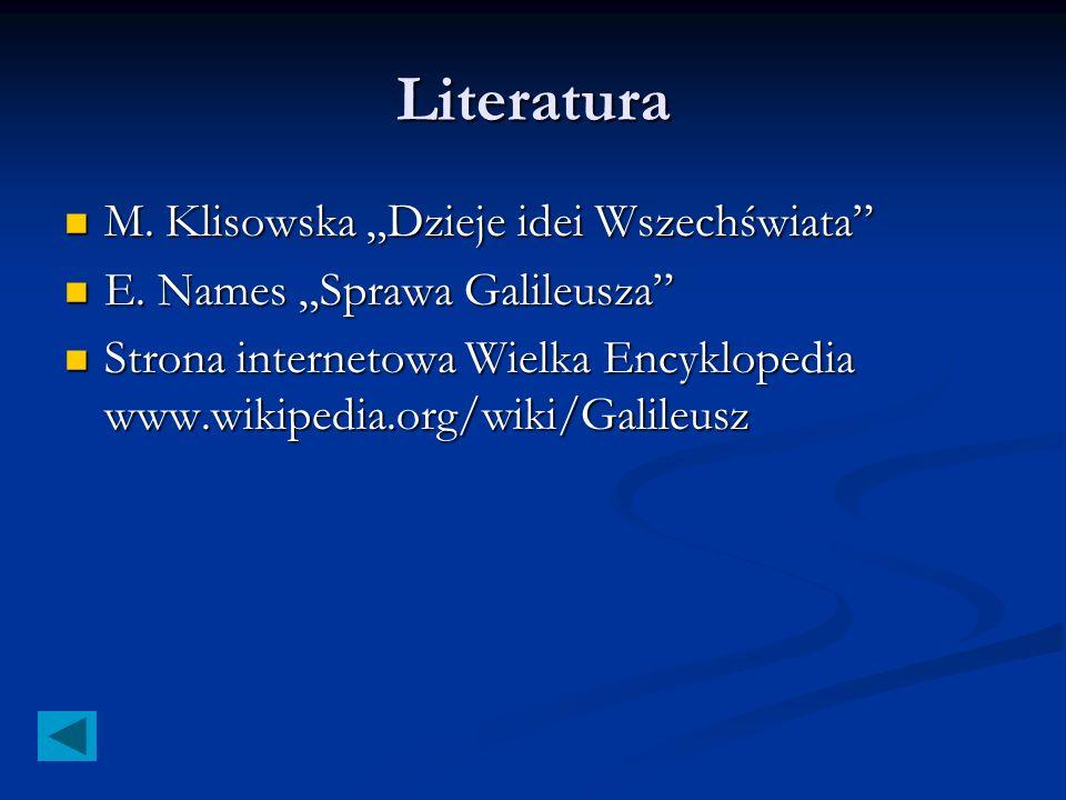 """Literatura M. Klisowska """"Dzieje idei Wszechświata"""
