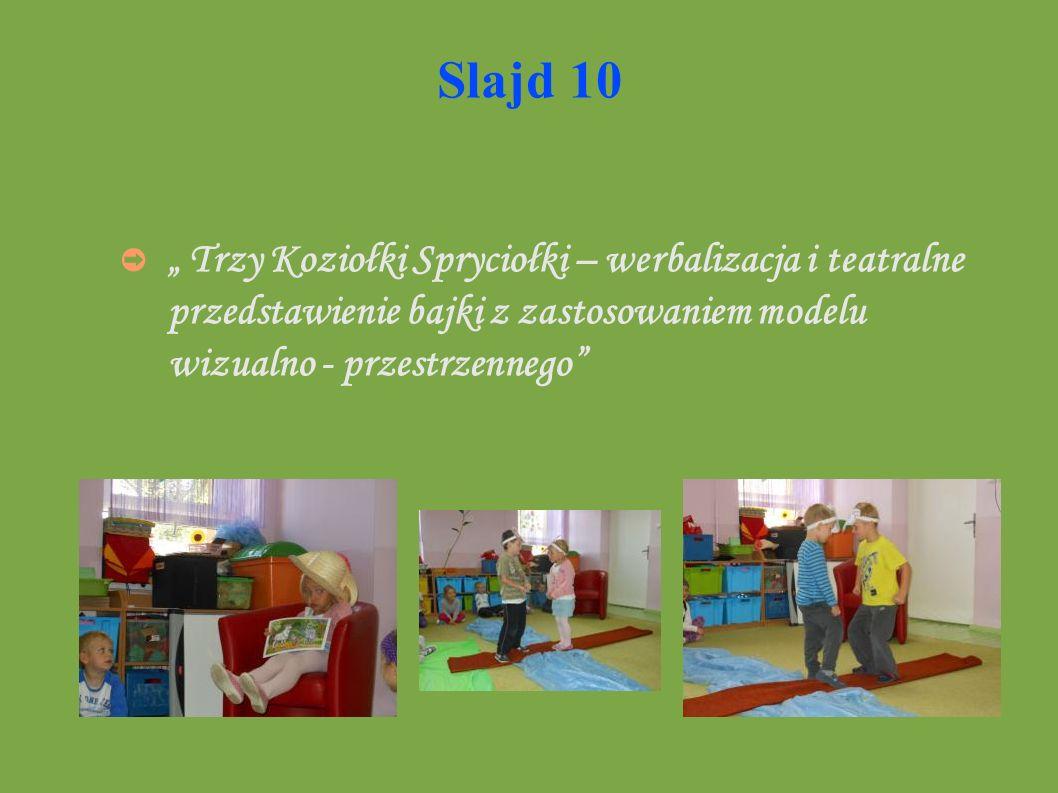 """Slajd 10 """" Trzy Koziołki Spryciołki – werbalizacja i teatralne przedstawienie bajki z zastosowaniem modelu wizualno - przestrzennego"""