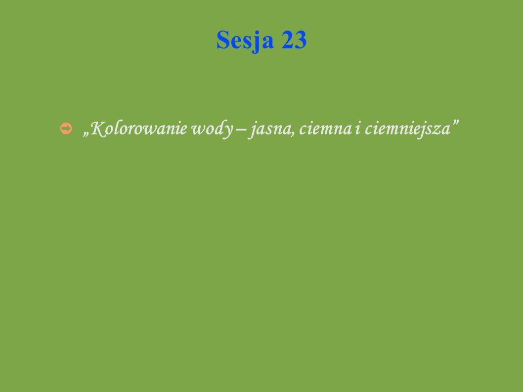 """Sesja 23 """"Kolorowanie wody – jasna, ciemna i ciemniejsza"""