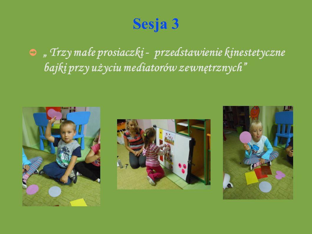 """Sesja 3 """" Trzy małe prosiaczki - przedstawienie kinestetyczne bajki przy użyciu mediatorów zewnętrznych"""