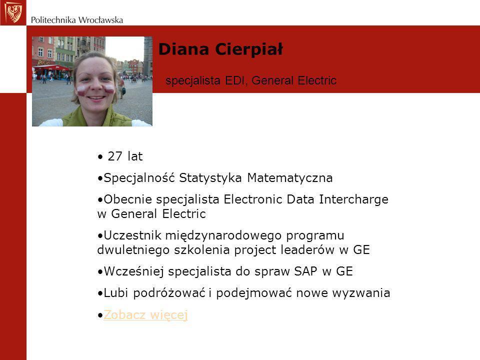 Diana Cierpiał specjalista EDI, General Electric 27 lat