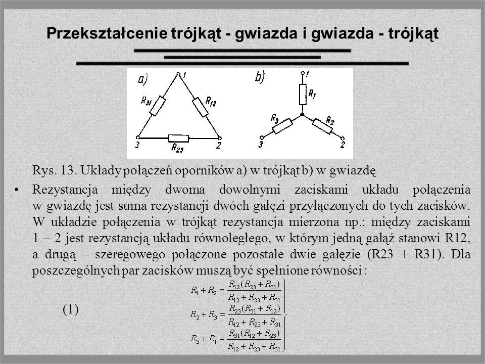 Przekształcenie trójkąt - gwiazda i gwiazda - trójkąt