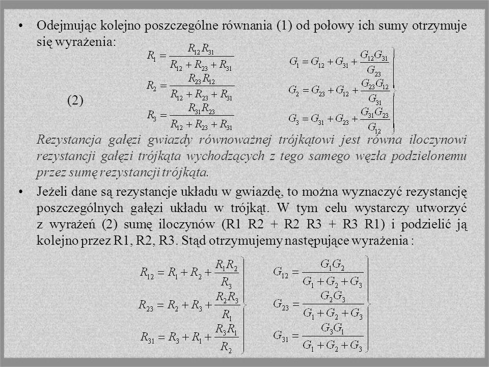 Odejmując kolejno poszczególne równania (1) od połowy ich sumy otrzymuje się wyrażenia: