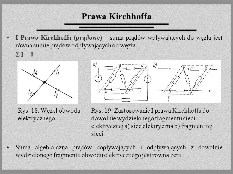 Prawa Kirchhoffa I Prawo Kirchhoffa (prądowe) – suma prądów wpływających do węzła jest równa sumie prądów odpływających od węzła.