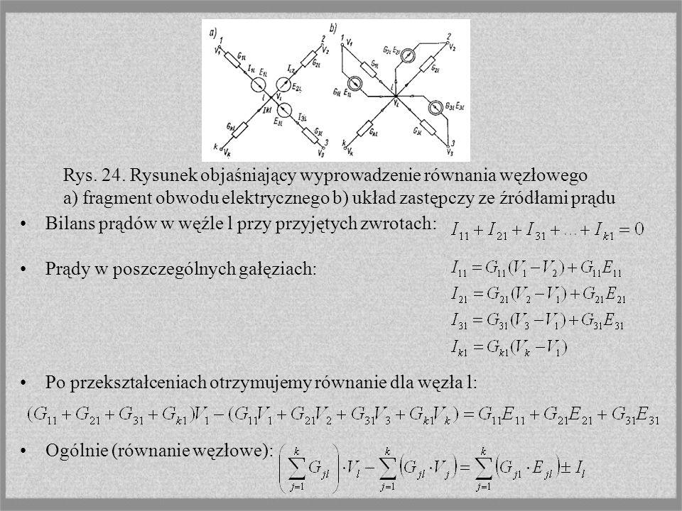 Rys. 24. Rysunek objaśniający wyprowadzenie równania węzłowego a) fragment obwodu elektrycznego b) układ zastępczy ze źródłami prądu