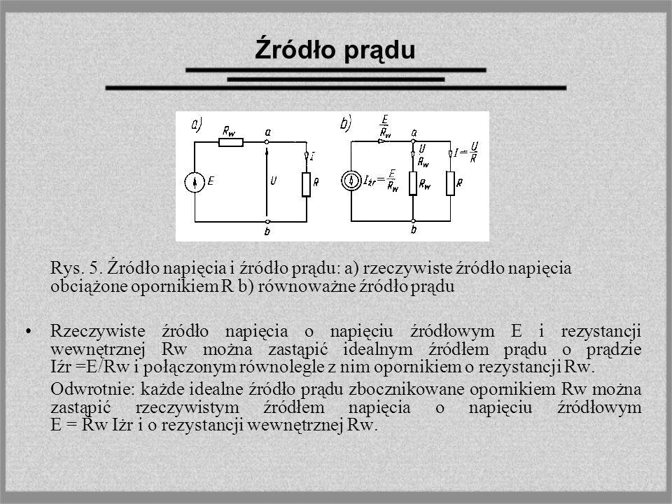 Źródło prądu Rys. 5. Źródło napięcia i źródło prądu: a) rzeczywiste źródło napięcia obciążone opornikiem R b) równoważne źródło prądu.