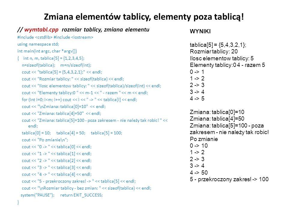 Zmiana elementów tablicy, elementy poza tablicą!