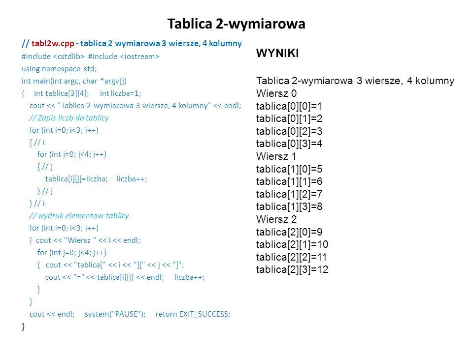 Tablica 2-wymiarowa WYNIKI Tablica 2-wymiarowa 3 wiersze, 4 kolumny
