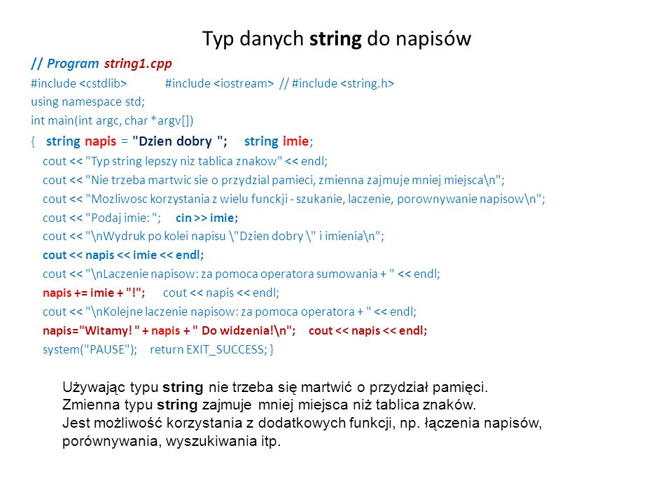 Typ danych string do napisów