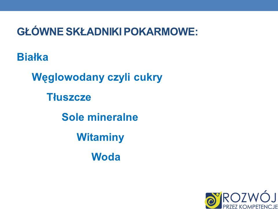 Główne składniki pokarmowe: