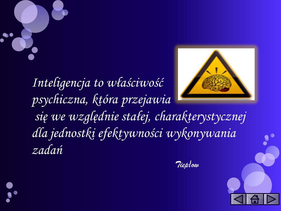 Inteligencja to właściwość psychiczna, która przejawia