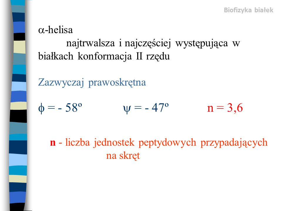 n - liczba jednostek peptydowych przypadających na skręt