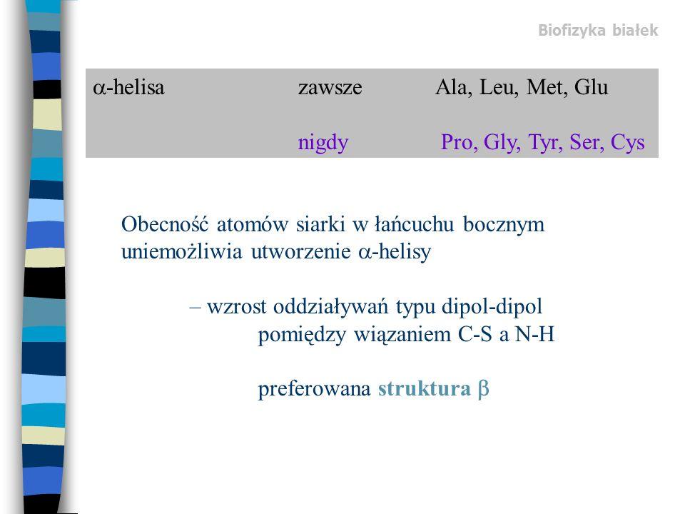 -helisa zawsze Ala, Leu, Met, Glu nigdy Pro, Gly, Tyr, Ser, Cys