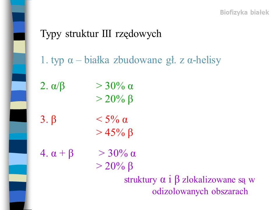 Biofizyka białek Typy struktur III rzędowych 1. typ α – białka zbudowane gł. z α-helisy 2. α/β > 30% α > 20% β.