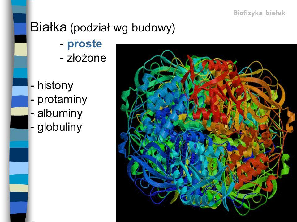 Biofizyka białek Białka (podział wg budowy) - proste - złożone - histony - protaminy - albuminy - globuliny.
