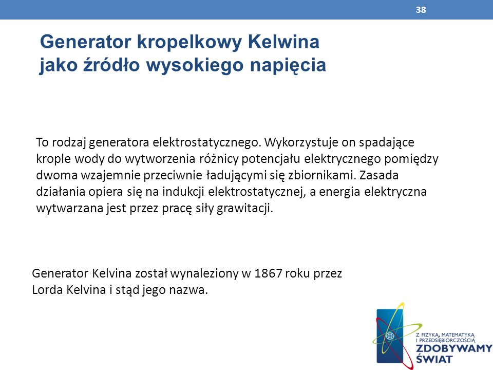Generator kropelkowy Kelwina jako źródło wysokiego napięcia