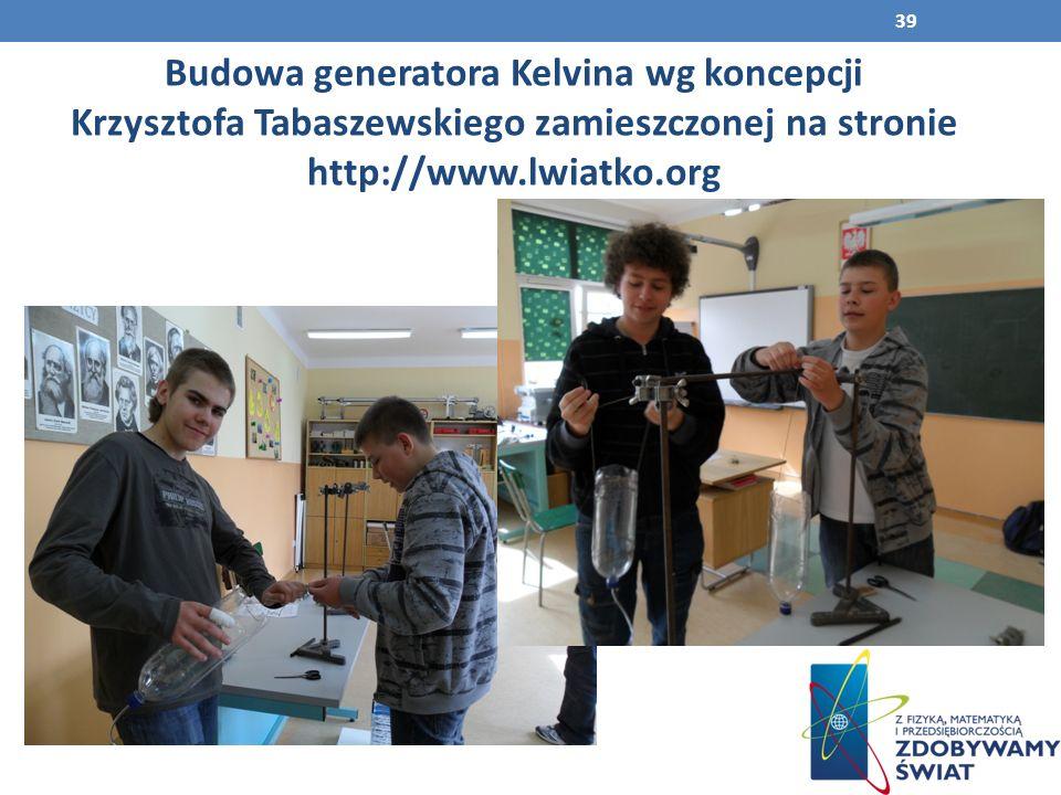 Budowa generatora Kelvina wg koncepcji