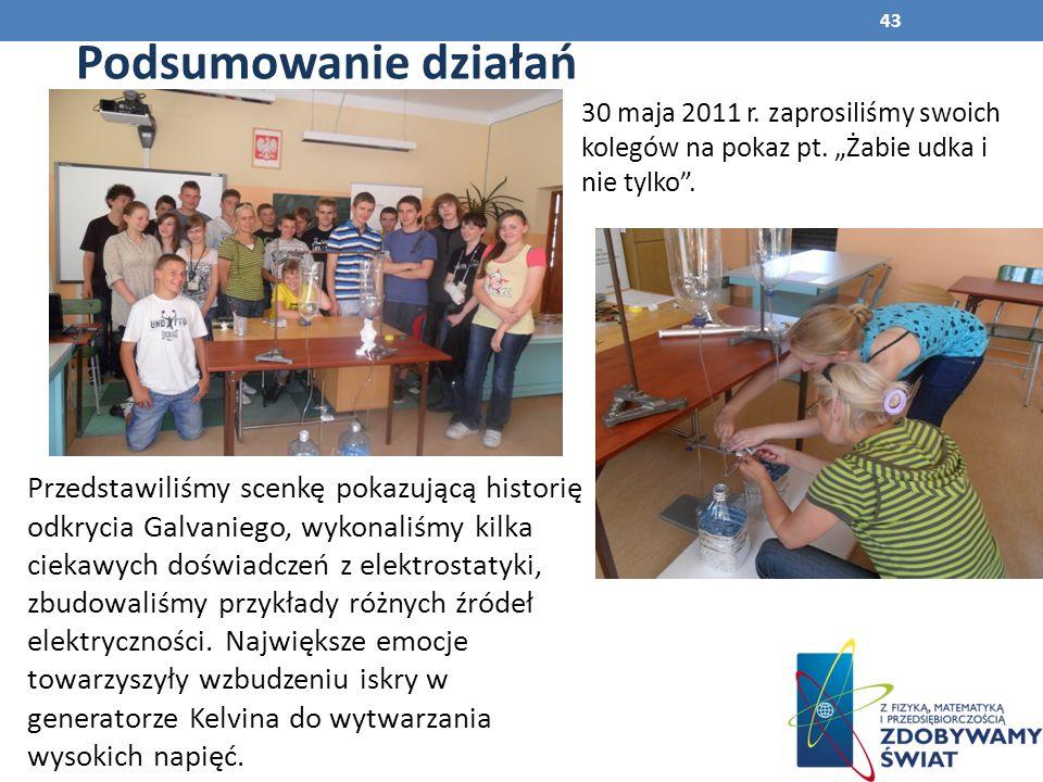 """Podsumowanie działań 30 maja 2011 r. zaprosiliśmy swoich kolegów na pokaz pt. """"Żabie udka i nie tylko ."""