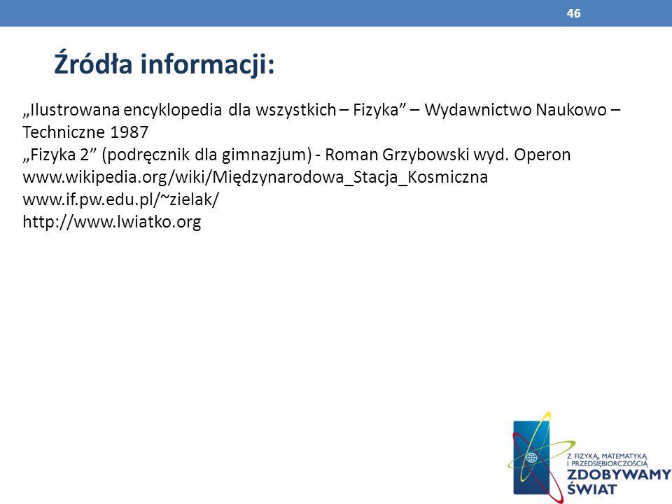 """Źródła informacji: """"Ilustrowana encyklopedia dla wszystkich – Fizyka – Wydawnictwo Naukowo – Techniczne 1987."""