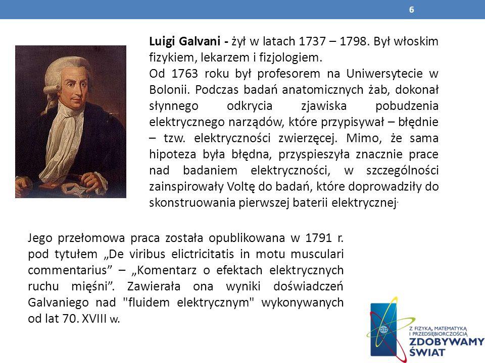 Luigi Galvani - żył w latach 1737 – 1798
