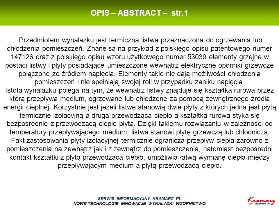 OPIS – ABSTRACT – str.1