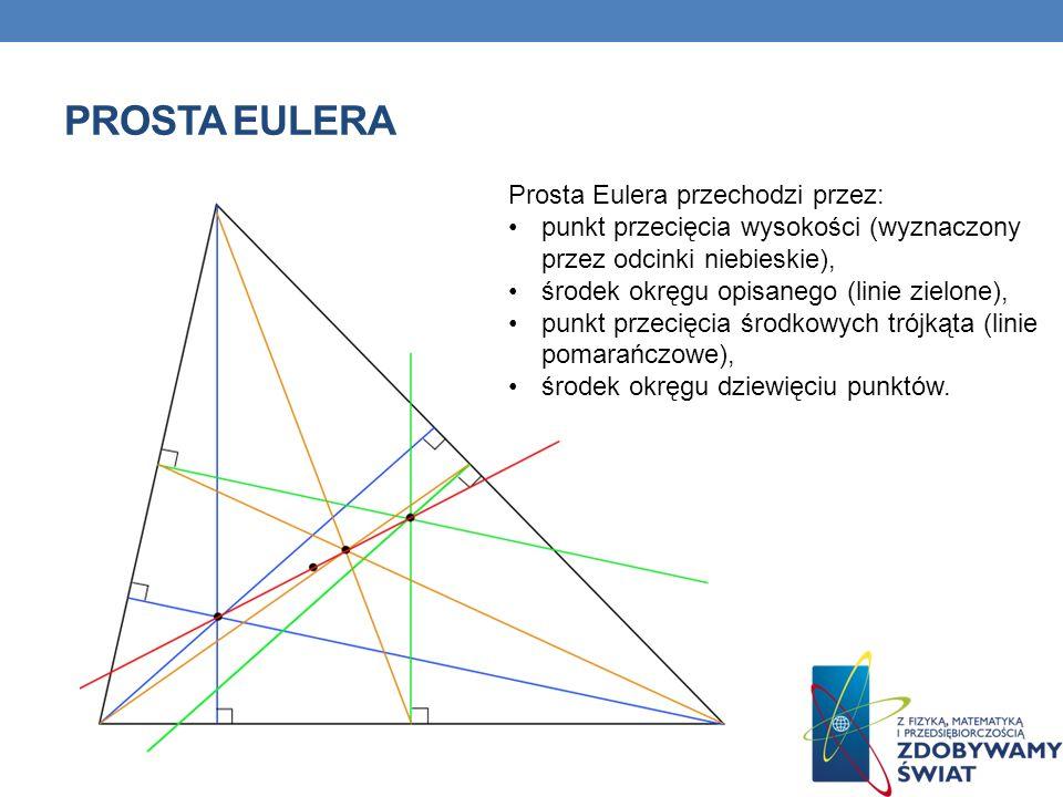 PROSTA EULERA Prosta Eulera przechodzi przez: