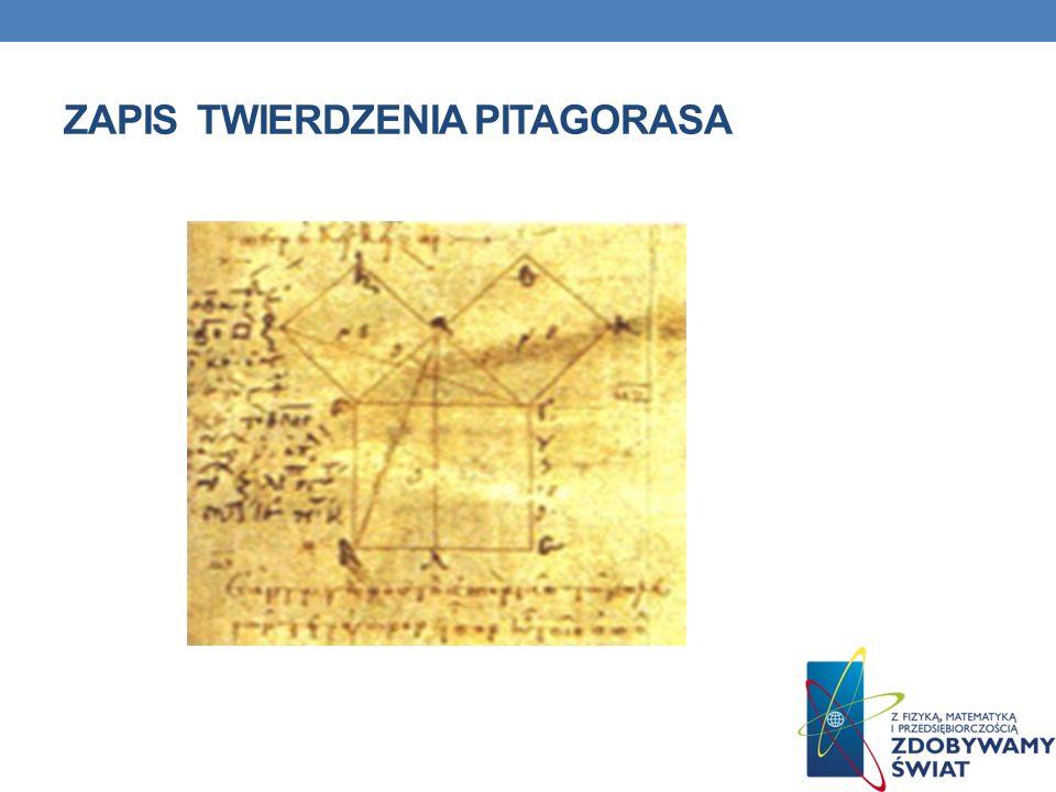 Zapis twierdzenia pitagorasa