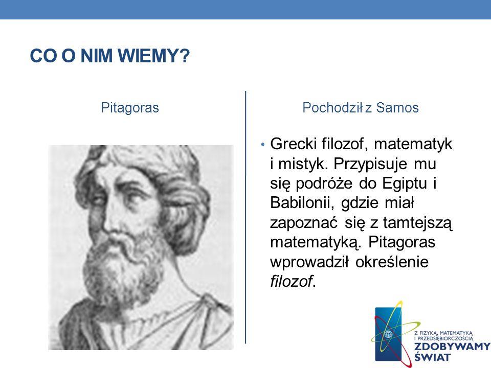 Co o nim wiemy Pitagoras. Pochodził z Samos.