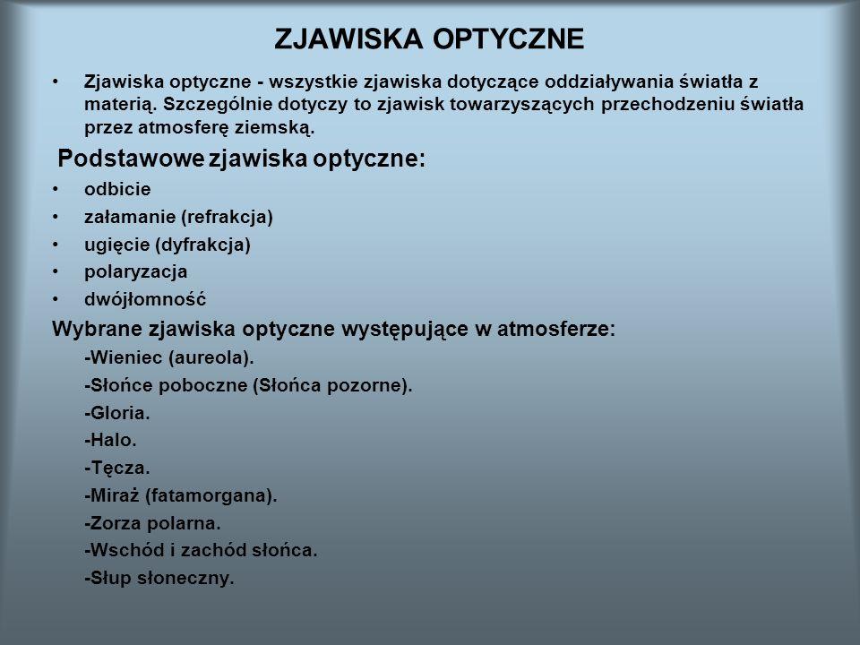 ZJAWISKA OPTYCZNE Wybrane zjawiska optyczne występujące w atmosferze: