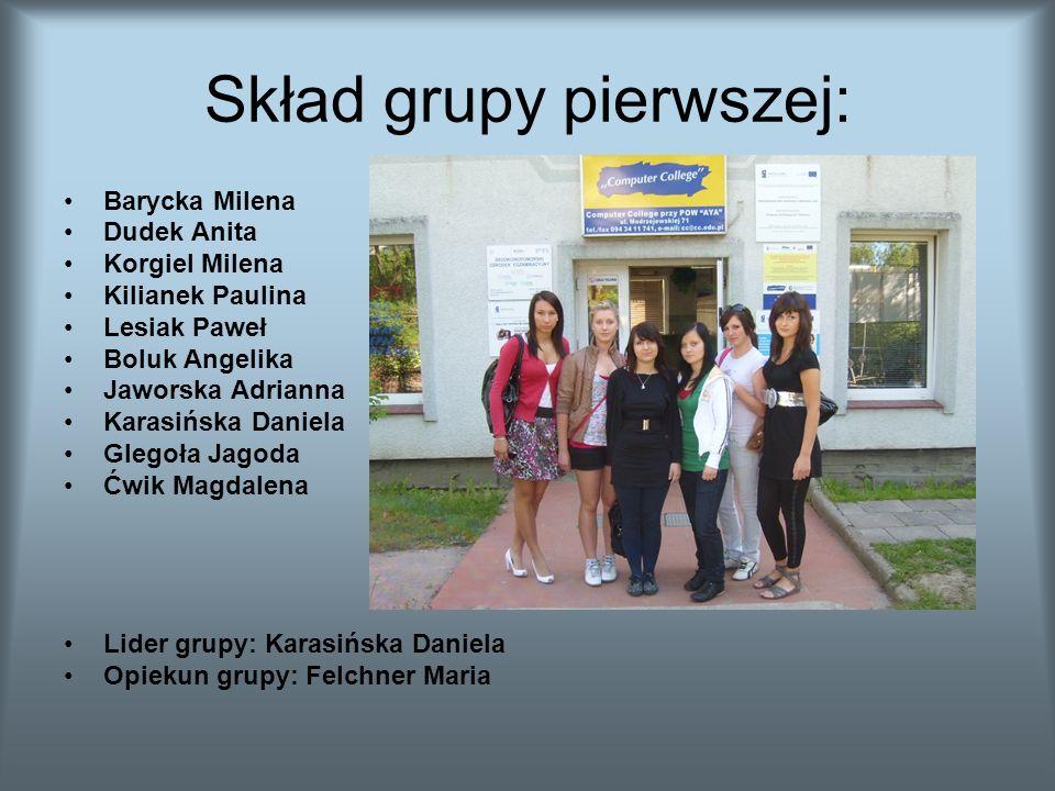 Skład grupy pierwszej: