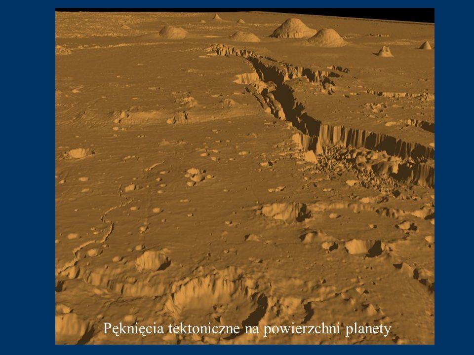 Pęknięcia tektoniczne na powierzchni planety