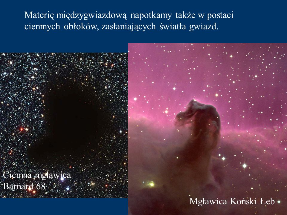 Materię międzygwiazdową napotkamy także w postaci ciemnych obłoków, zasłaniających światła gwiazd.
